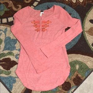 Free People Long Sleeve Coral Henley